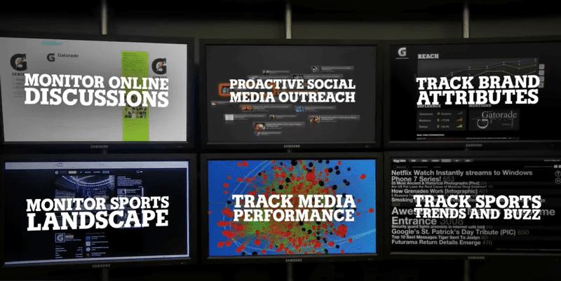 Six screens in a social media command center