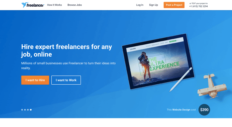 Freelancers home page