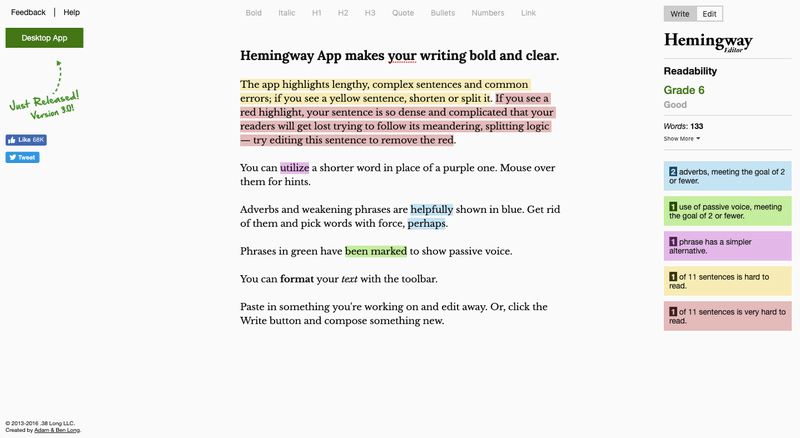 Hemingway free app helps you improve you copyright skills