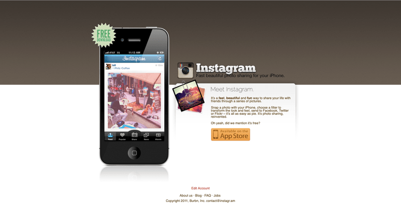 Instagram homepage in the early days