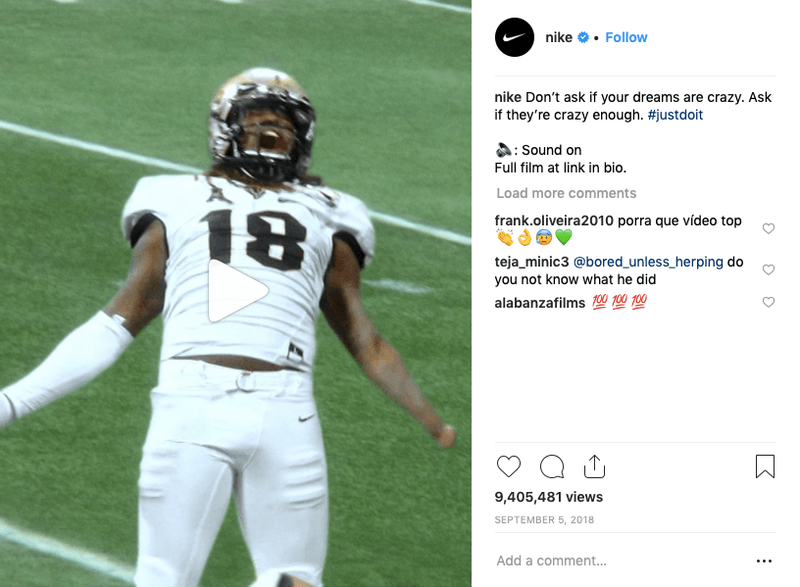 Nike Post Showing a win Celebration in Football
