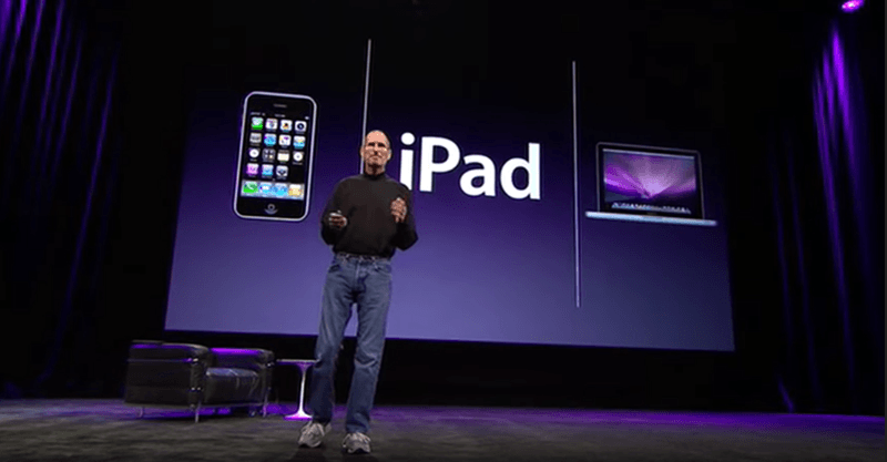 Steve jobs deliver a presentation on iPad launch