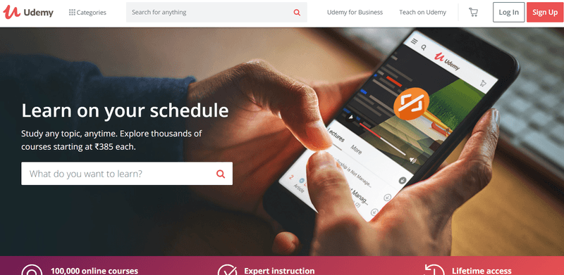 Udemy website showing Digital Marketing Courses