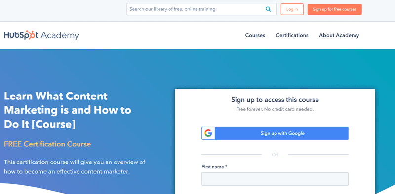 HubSpot Academy Website