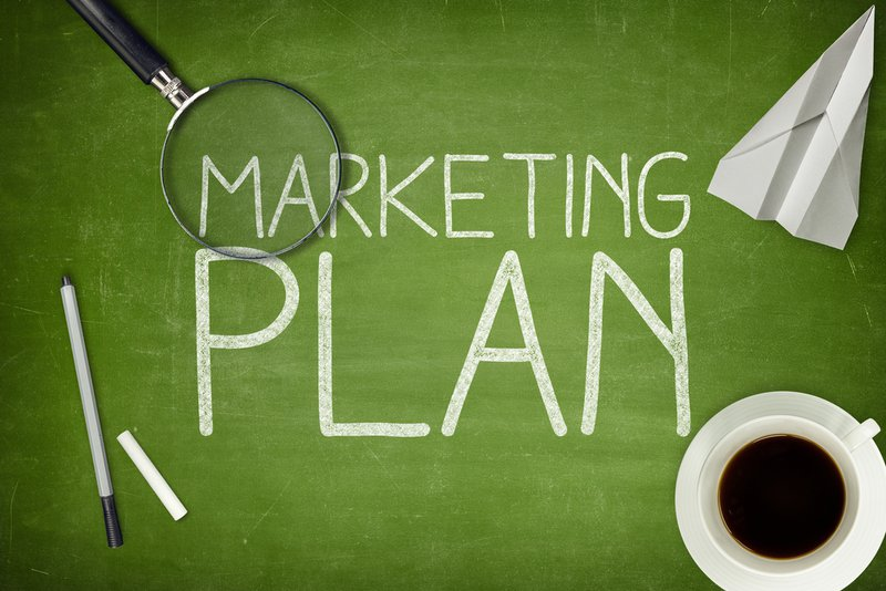 Marketing Plan on a green background