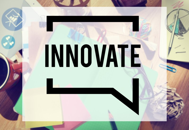 A creative illustration on which is written INNOVATE