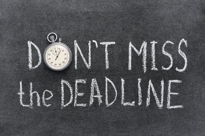 Don't miss the deadline written on blackboard, for productivity improvement