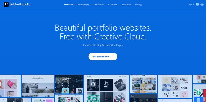 Adobe portfolio website page