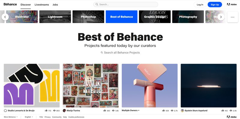 Behance in best portfolio websites in 2021
