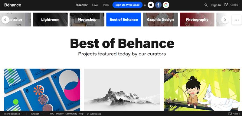 Behance in best portfolio websites in 2020