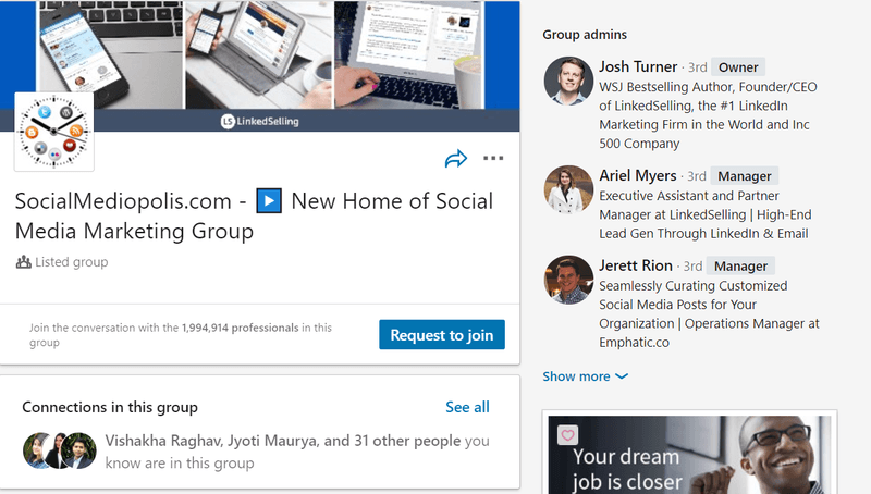 LinkedIn group example