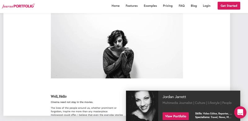 Journo portfolio website page