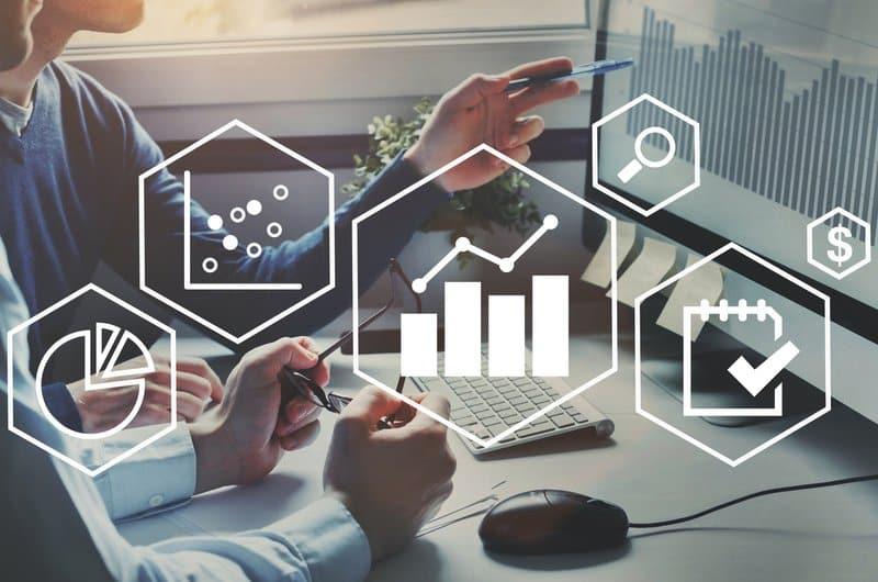 Business analytics intelligence concept, financial charts to analyze profit