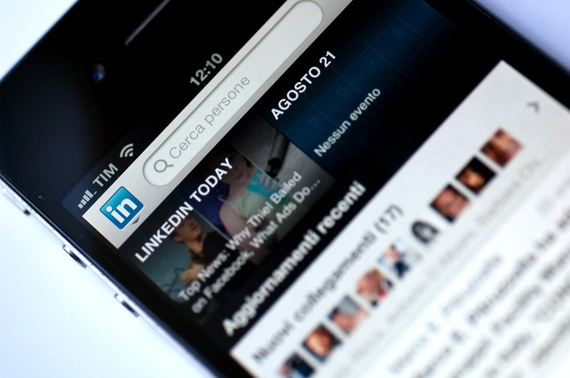 LinkedIn App in a mobile phone