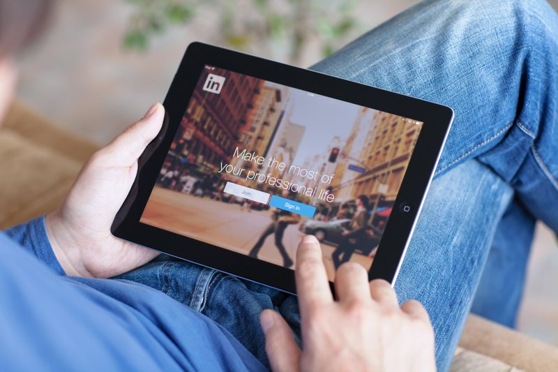 LinkedIn app open in a tablet