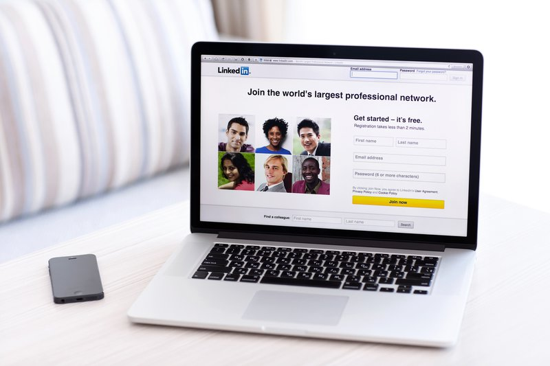 LinkedIn website open on a laptop