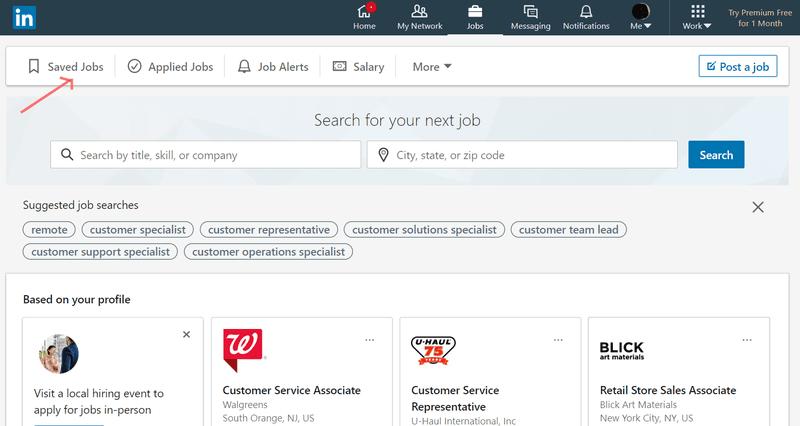 Saved Jobs screen on LinkedIn