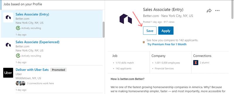 LinkedIn website Save jobs screen