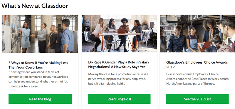 Glassdoor website to look for if going for a career shift