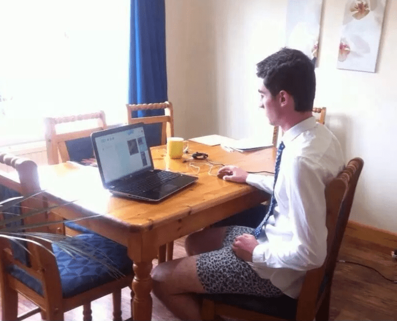 A professional in a Skype interview with no pants on