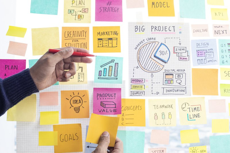 Advertising agency related ideas on colorful paper notes on wall