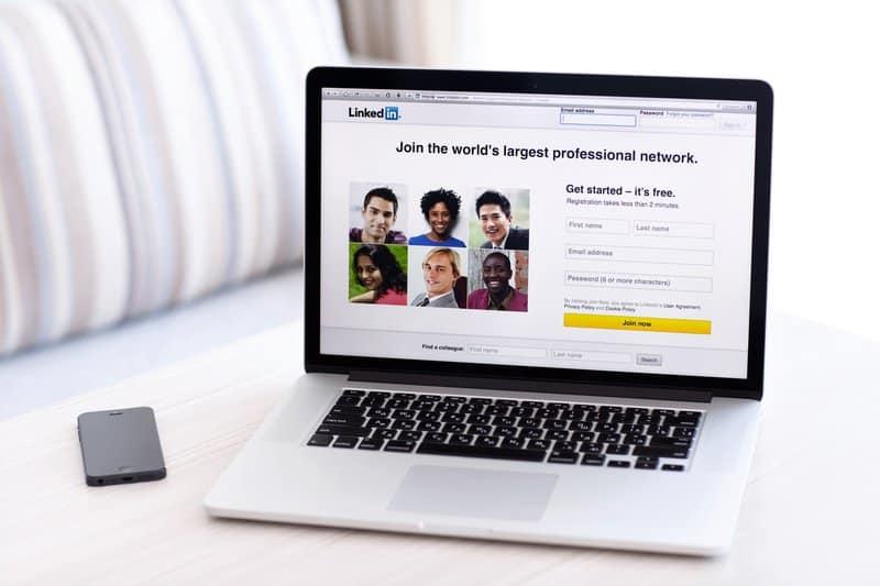 LinkedIn website on a laptop