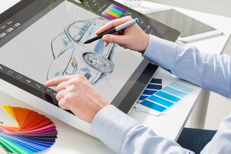 A 2-D drawing of a car on a software tool