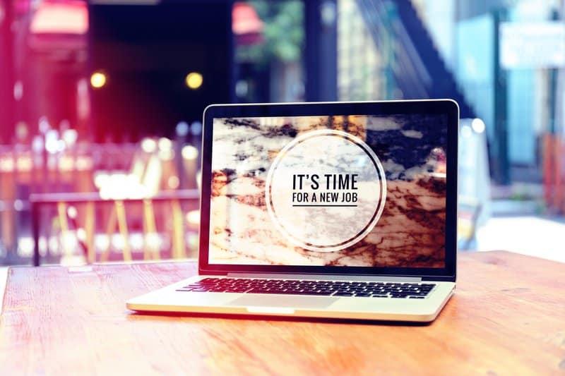 Career shift written on a laptop