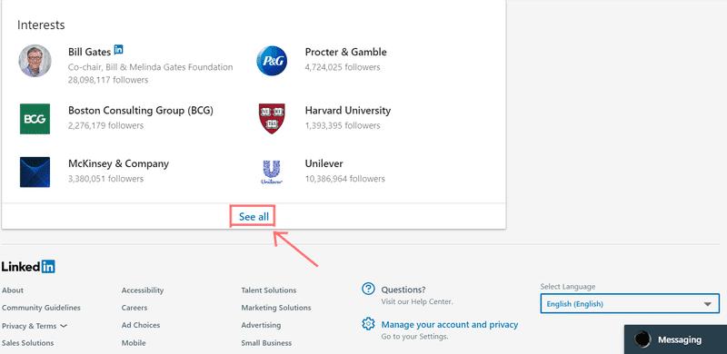 LinkedIn print screen