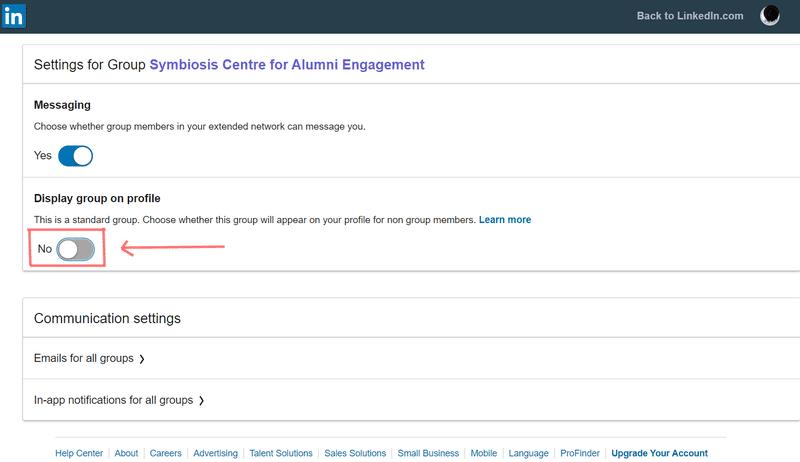 Settings page on LinkedIn