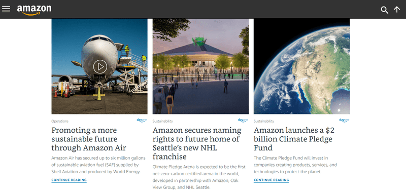 Amazon Sustainability practices on its Web Page