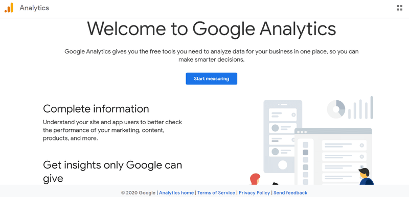 Google Analytics web page for Digital Marketing