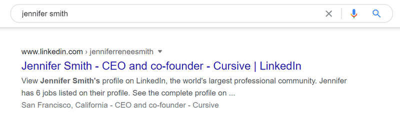 Customize LinkedIn URL: Google search result