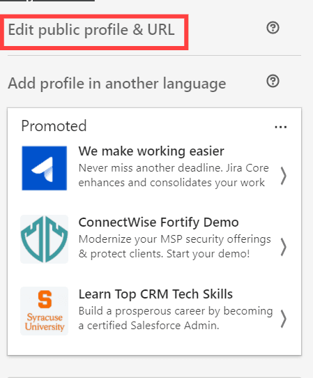 LinkedIn Profile URL option