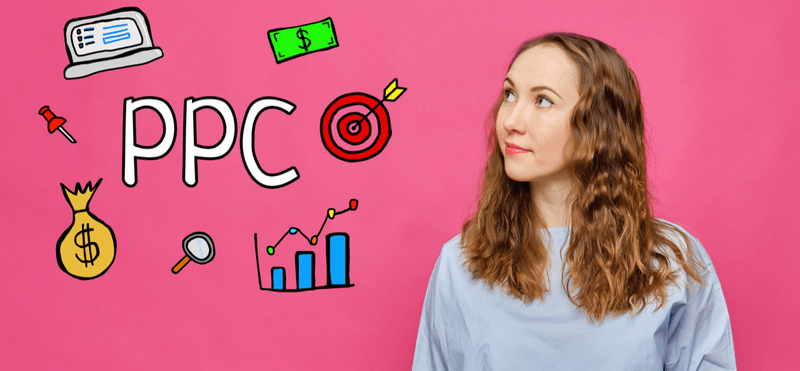 Pay per click concept on pink background