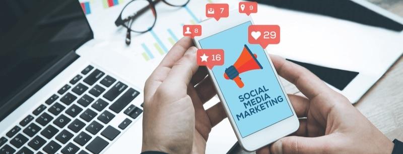 Social Media Marketing on phone screen