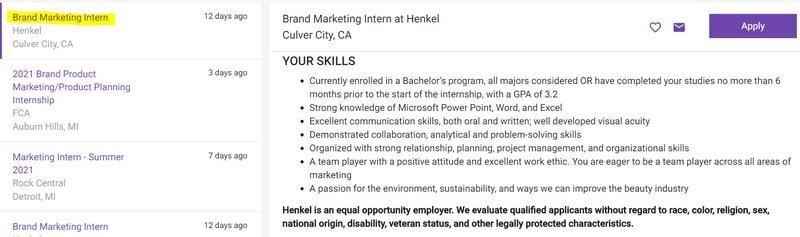 Brand marketing internship post on Monster