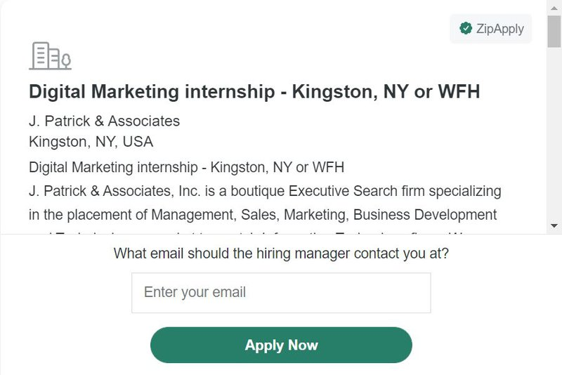 Digital marketing post on Zip recruiter