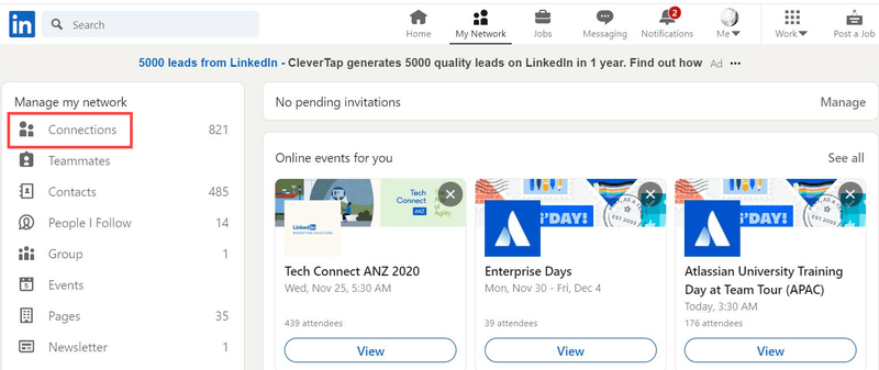 Remove LinkedIn Connections steps