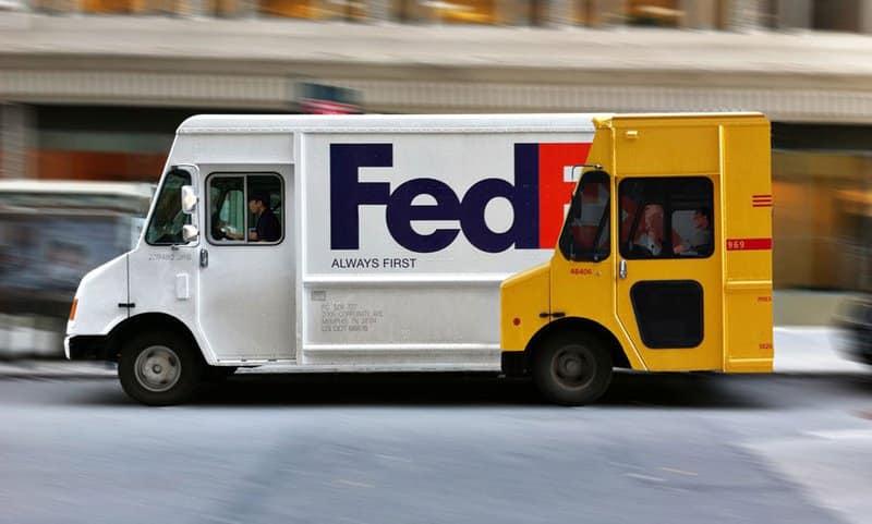 FedEx ad on van