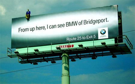 A creative billboard from BMW, a smart filed marketing tactic