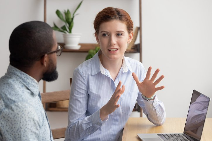 A technical recruiter chatting with a candidate