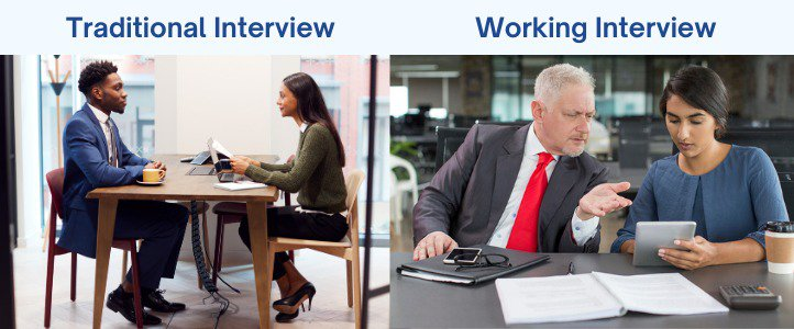 Traditional interview and working interview set up