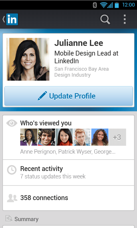 LinkedIn Mobile App in 2014