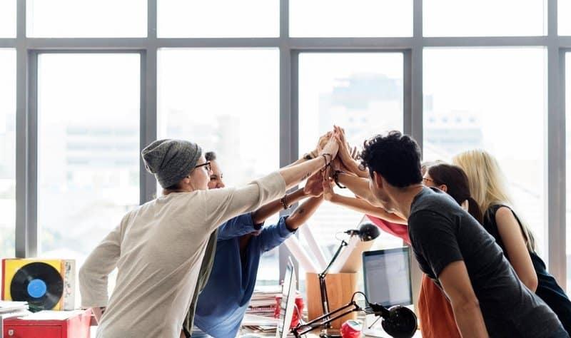 Team spirit shown in a workplace