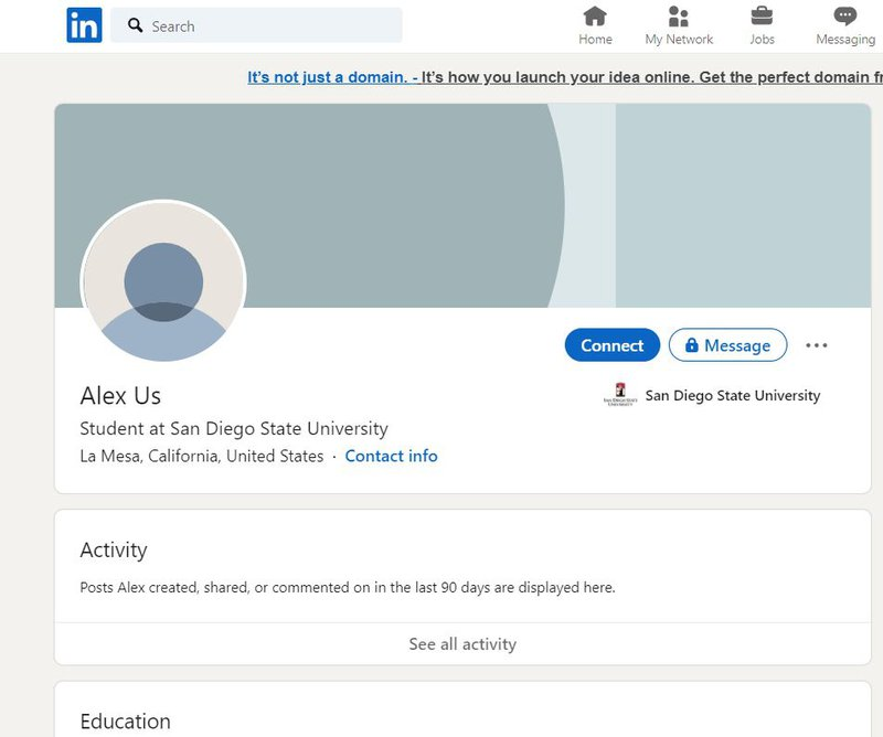 LinkedIn profile of the person who needs to be blocked