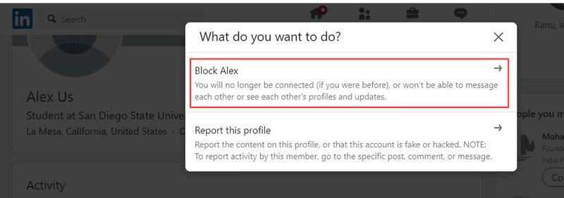 Blocking someone on LinkedIn steps