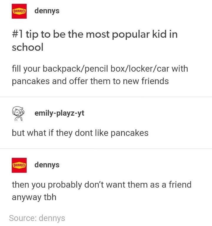 Denny's Tumblr interactions