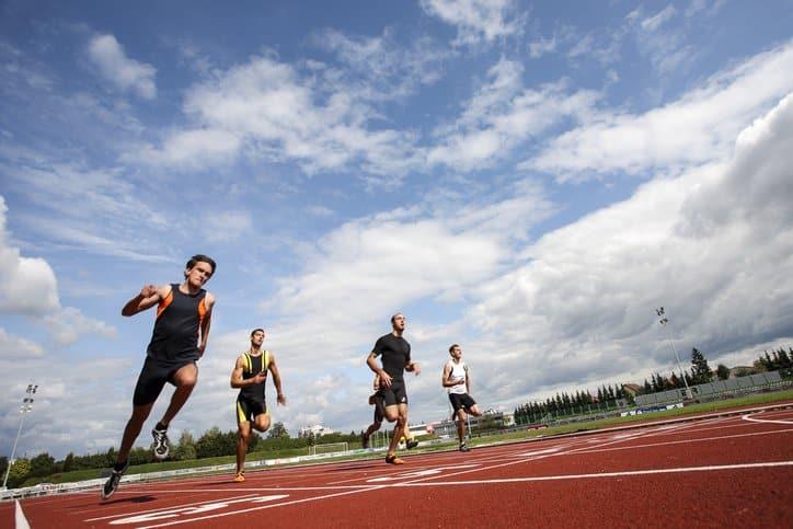 Athletes at finishing point