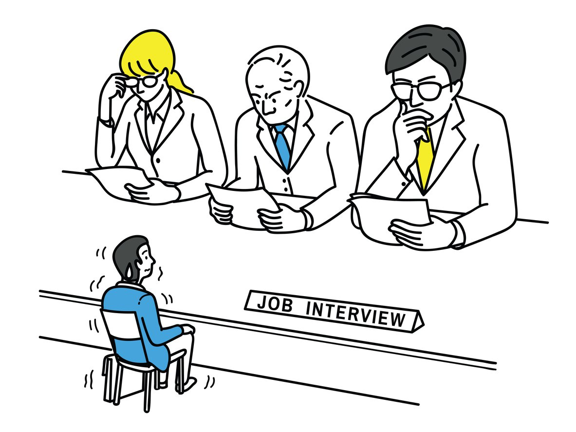 Nervous candidate in an interview